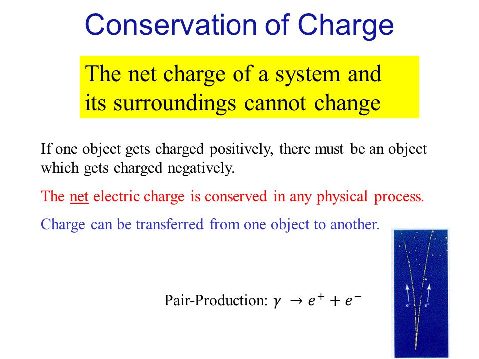 The net charge of a system and its surroundings cannot change If one object gets charged positively, there must be an object which gets charged negati