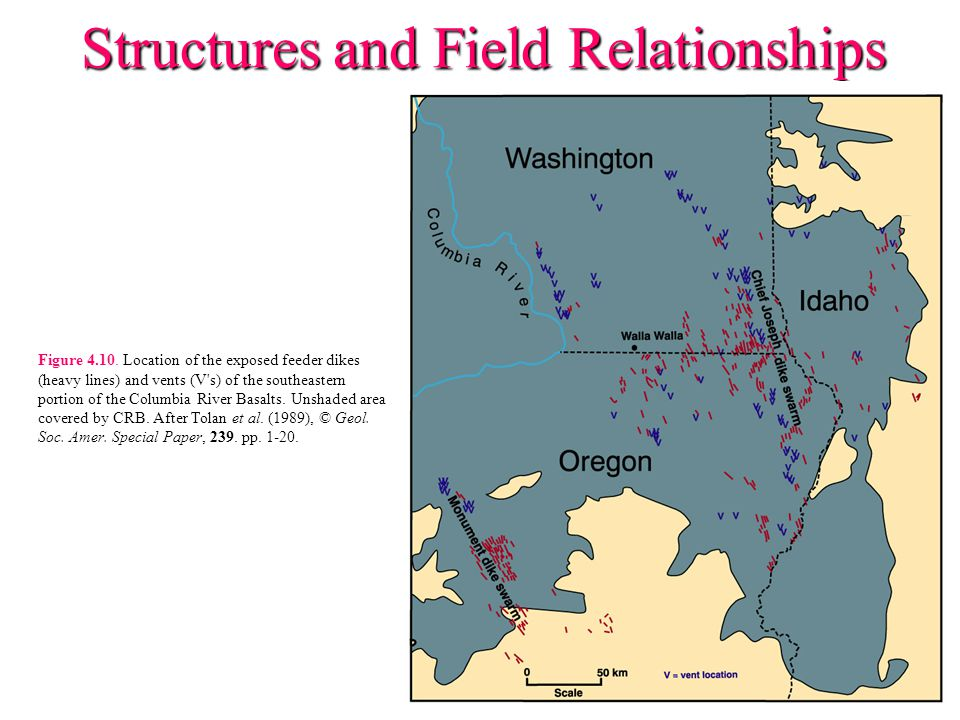 Structures and Field Relationships Figure 4.10. Location of the exposed feeder dikes (heavy lines) and vents (V's) of the southeastern portion of the