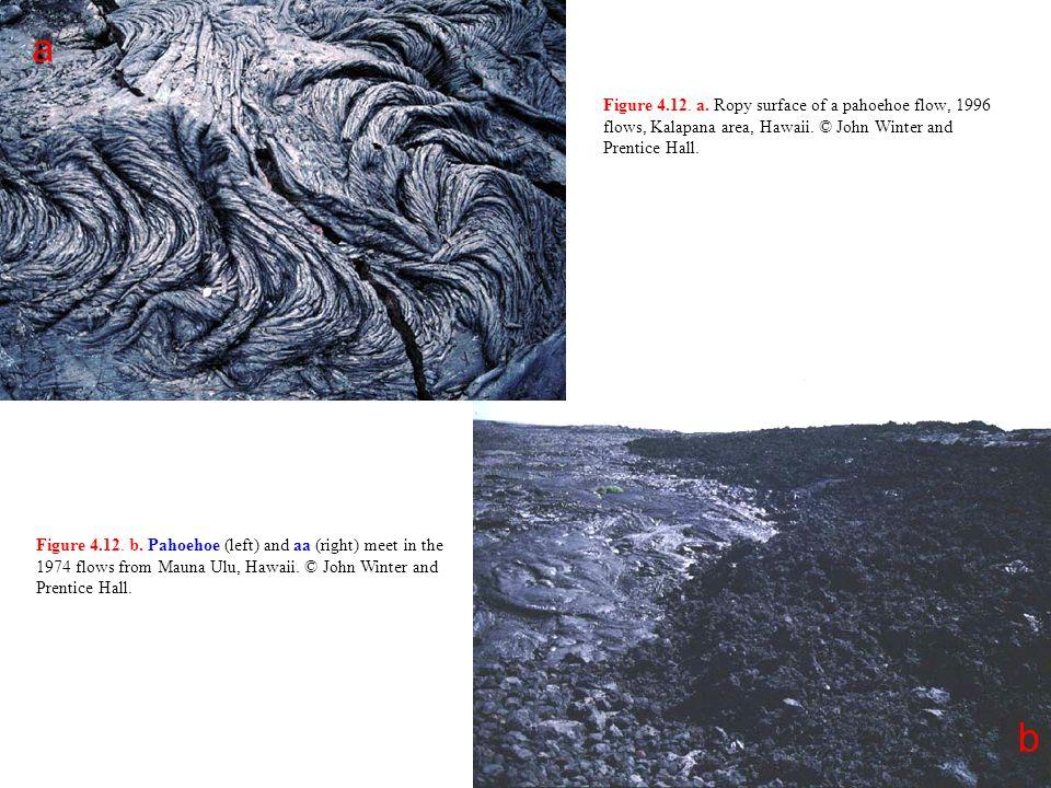 Figure 4.12. a. Ropy surface of a pahoehoe flow, 1996 flows, Kalapana area, Hawaii. © John Winter and Prentice Hall. a b Figure 4.12. b. Pahoehoe (lef