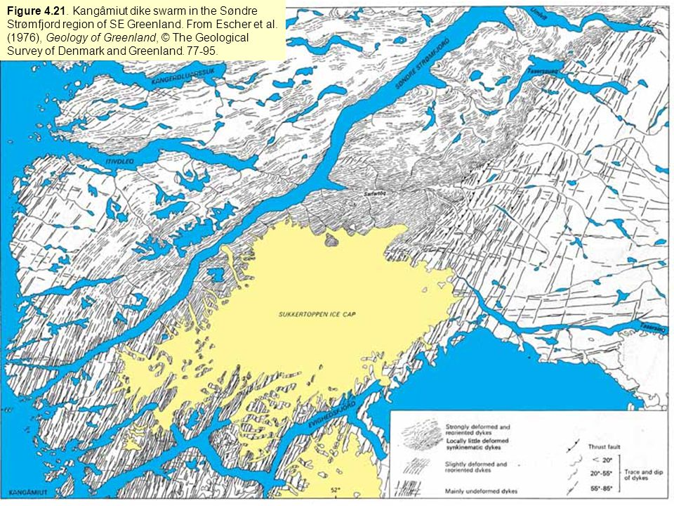 Figure 4.21. Kangâmiut dike swarm in the Søndre Strømfjord region of SE Greenland. From Escher et al. (1976), Geology of Greenland, © The Geological S