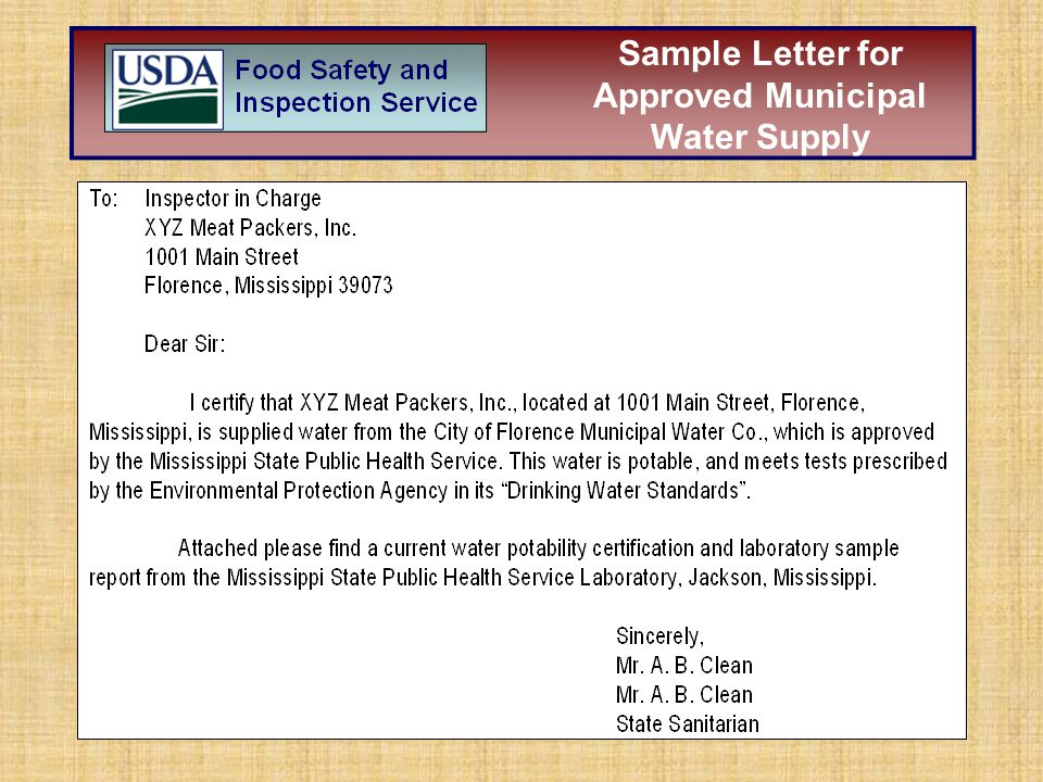 Sample Letter for Approved Municipal Water Supply