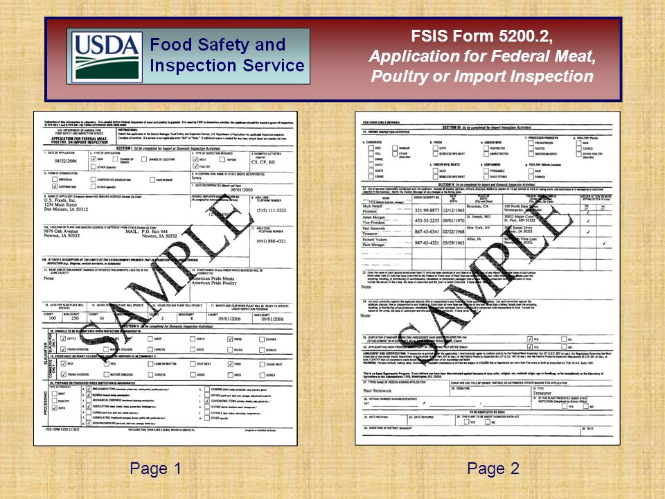 Page 1Page 2 FSIS Form 5200.2, Application for Federal Meat, Poultry or Import Inspection
