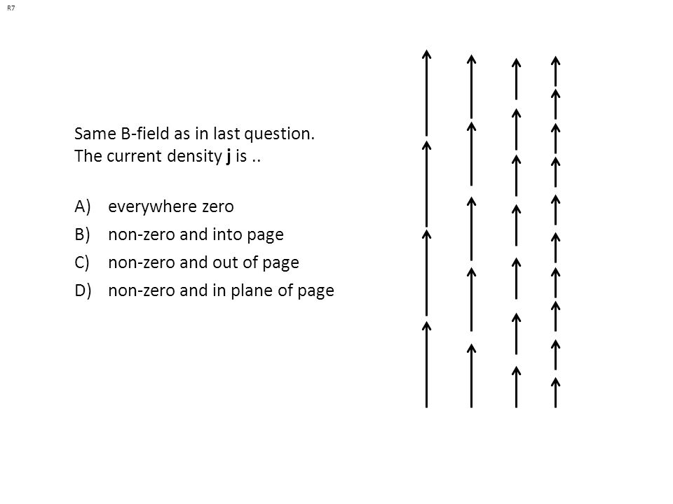 If the arrows represent a B field (note that  B  is the same everywhere), is there a J (perpendicular to the page) in the dashed region.