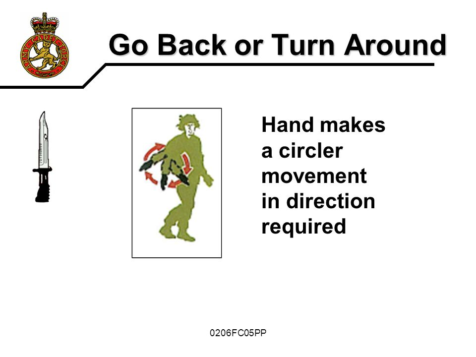 0206FC05PP Go Back or Turn Around Hand makes a circler movement in direction required