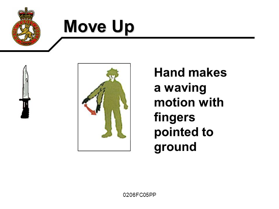 0206FC05PP Move Up Hand makes a waving motion with fingers pointed to ground