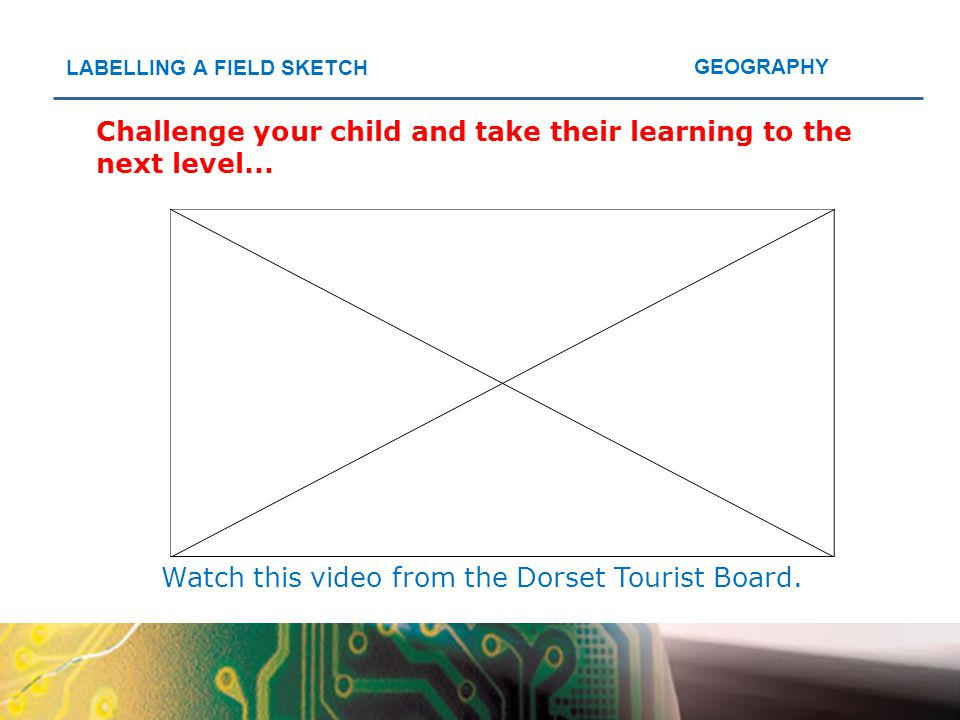 GEOGRAPHY LABELLING A FIELD SKETCH Challenge your child and take their learning to the next level... Watch this video from the Dorset Tourist Board.