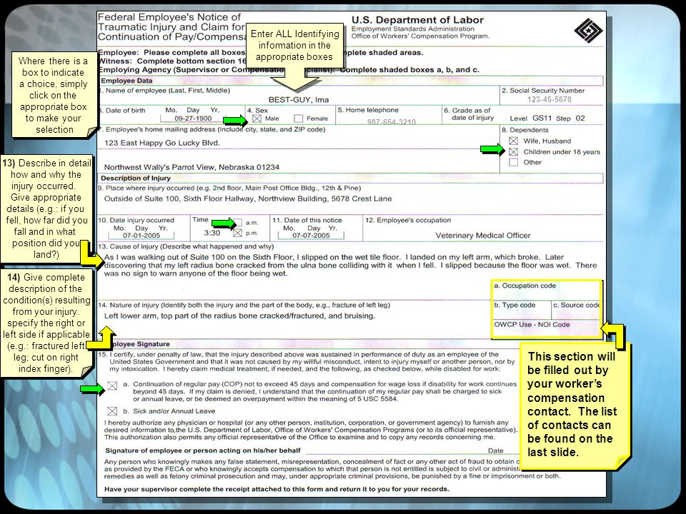 Where there is a box to indicate a choice, simply click on the appropriate box to make your selection Where there is a box to indicate a choice, simply click on the appropriate box to make your selection Enter ALL Identifying information in the appropriate boxes Enter ALL Identifying information in the appropriate boxes 123-45-5678 987-654-3210 13) Describe in detail how and why the injury occurred.