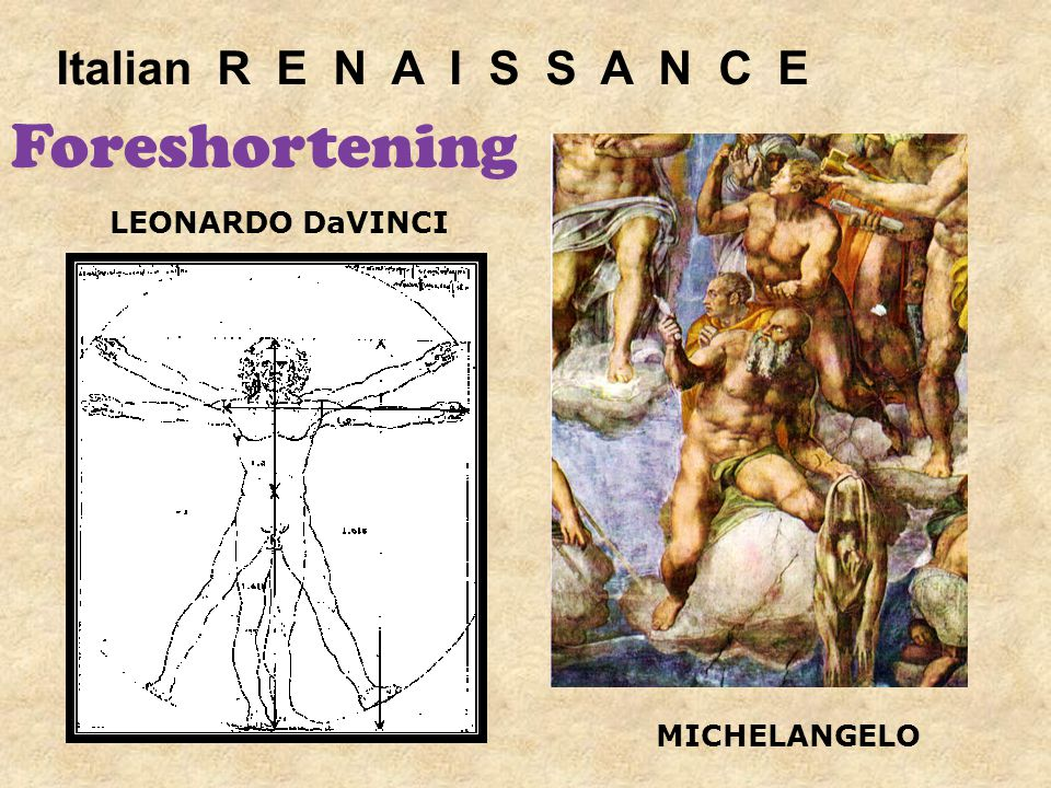 LEONARDO DaVINCI MICHELANGELO Italian R E N A I S S A N C E Foreshortening