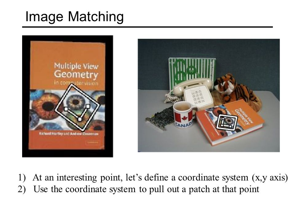 Image Matching 1)At an interesting point, let's define a coordinate system (x,y axis) 2) Use the coordinate system to pull out a patch at that point