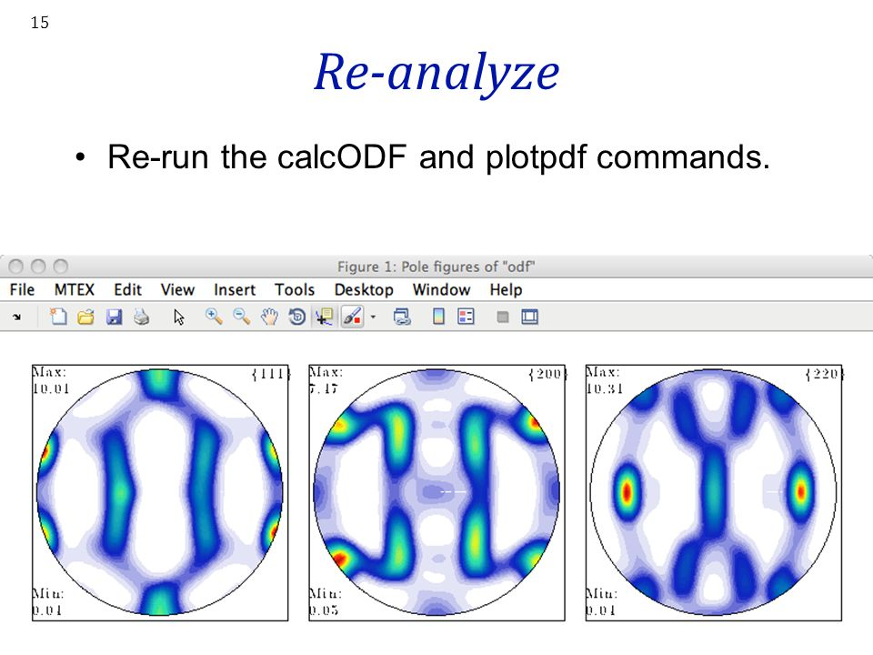 Re-analyze Re-run the calcODF and plotpdf commands. 15