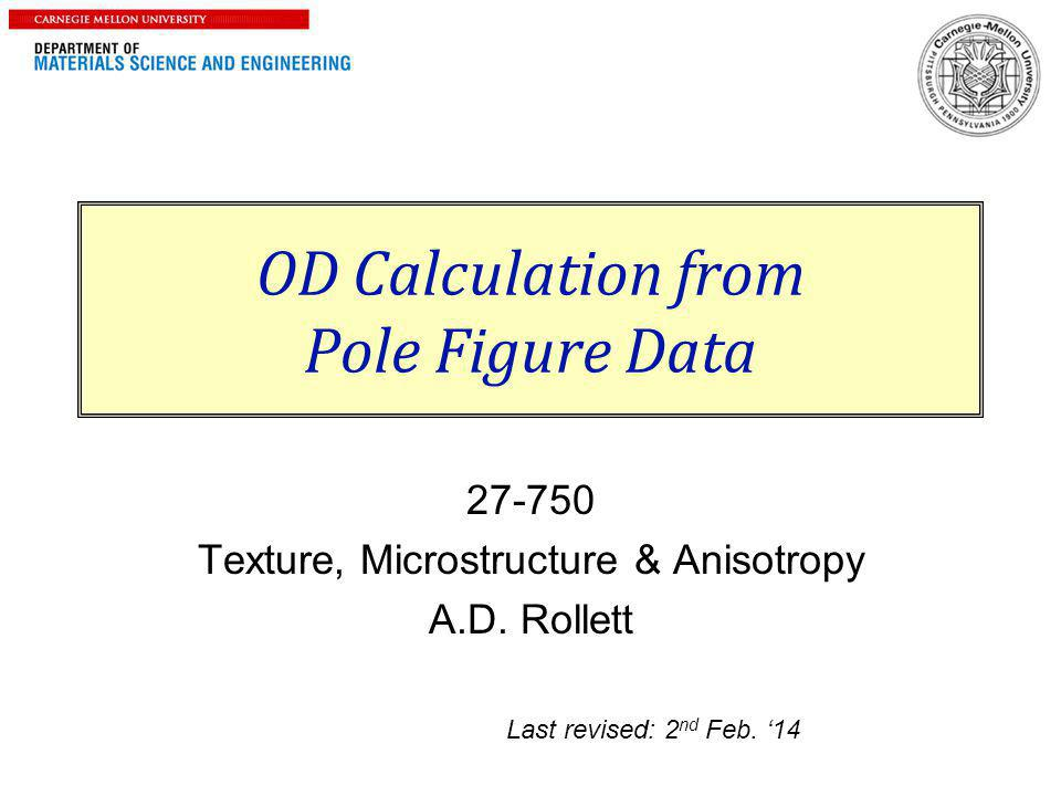 Notation p Intensity in pole figure ,  angles in pole fig.