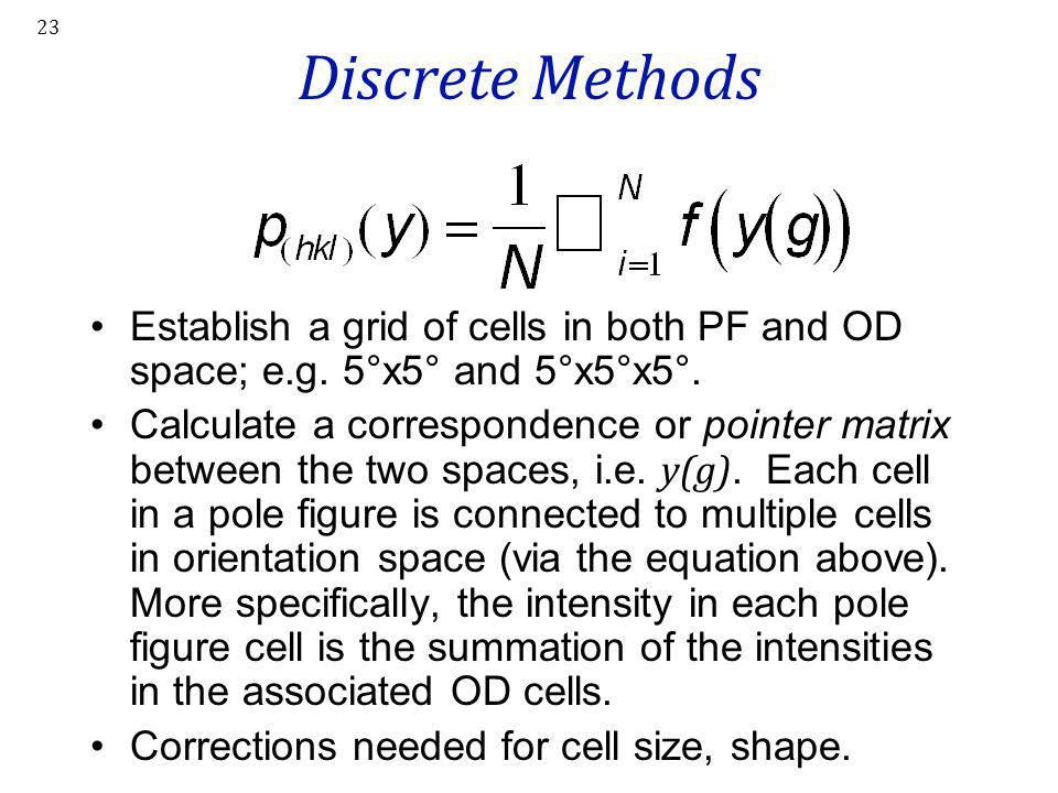 23 Discrete Methods Establish a grid of cells in both PF and OD space; e.g. 5°x5° and 5°x5°x5°. Calculate a correspondence or pointer matrix between t