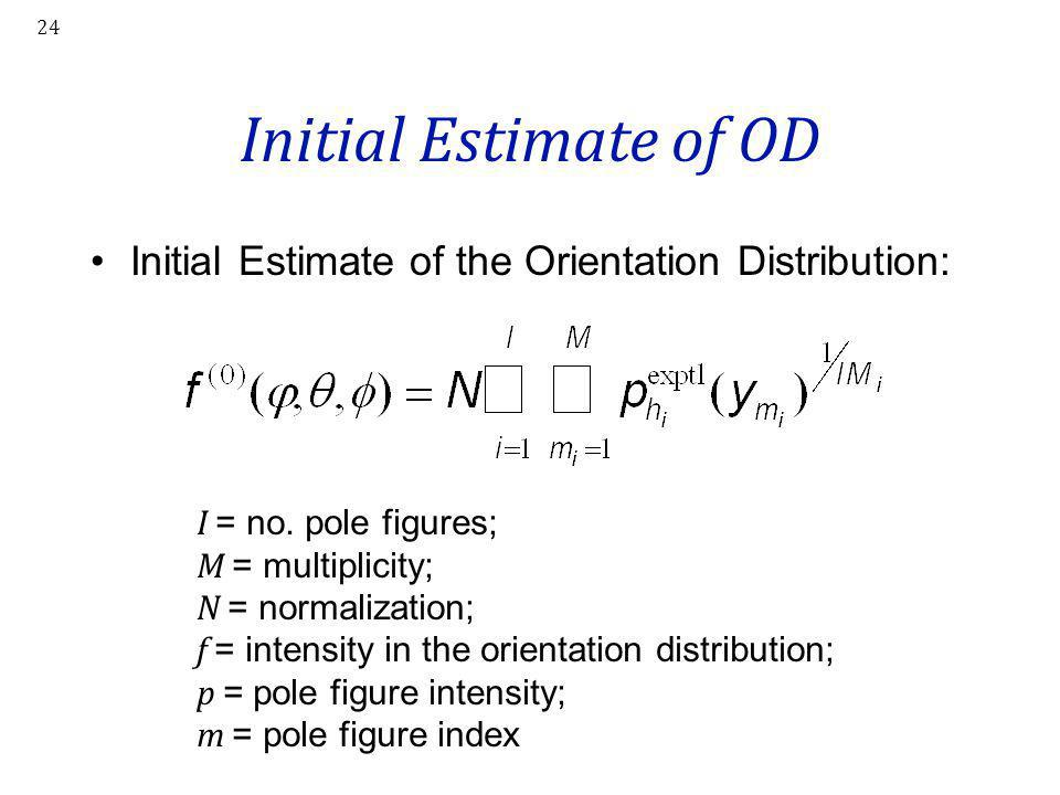 24 Initial Estimate of OD Initial Estimate of the Orientation Distribution: I = no. pole figures; M = multiplicity; N = normalization; f = intensity i