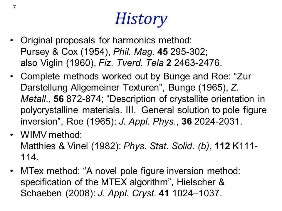 7 History Original proposals for harmonics method: Pursey & Cox (1954), Phil. Mag. 45 295-302; also Viglin (1960), Fiz. Tverd. Tela 2 2463-2476. Compl