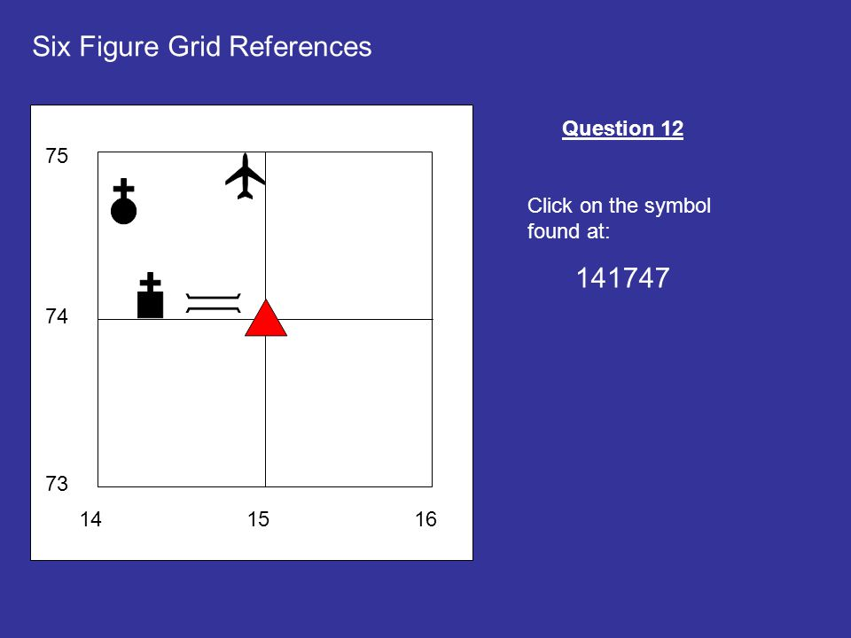 141516 73 74 75 Six Figure Grid References Question 12 Click on the symbol found at: 141747