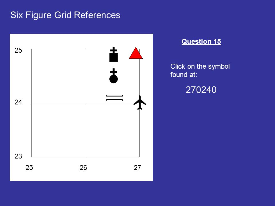 252627 23 24 25 Six Figure Grid References Question 15 Click on the symbol found at: 270240