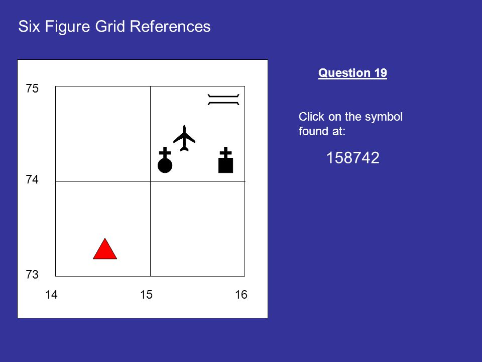 141516 73 74 75 Six Figure Grid References Question 19 Click on the symbol found at: 158742