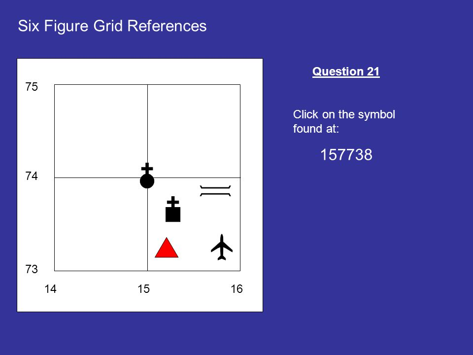 141516 73 74 75 Six Figure Grid References Question 21 Click on the symbol found at: 157738