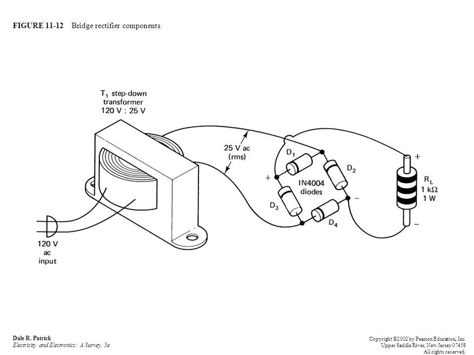 FIGURE 11-12 Bridge rectifier components. Dale R. Patrick Electricity and Electronics: A Survey, 5e Copyright ©2002 by Pearson Education, Inc. Upper S