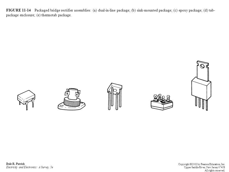 FIGURE 11-14 Packaged bridge rectifier assemblies: (a) dual-in-line package; (b) sink-mounted package; (c) epoxy package; (d) tab- package enclosure;