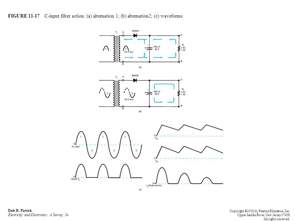 FIGURE 11-17 C-input filter action: (a) alternation 1; (b) alternation2; (c) waveforms. Dale R. Patrick Electricity and Electronics: A Survey, 5e Copy