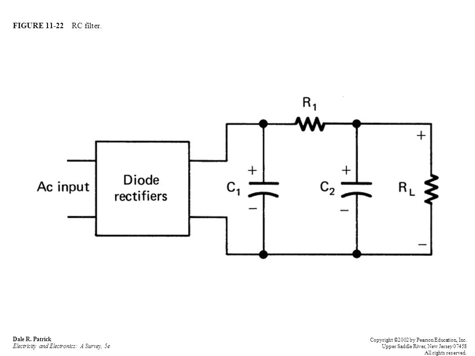 FIGURE 11-22 RC filter. Dale R. Patrick Electricity and Electronics: A Survey, 5e Copyright ©2002 by Pearson Education, Inc. Upper Saddle River, New J