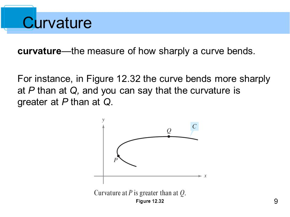 9 curvature—the measure of how sharply a curve bends.