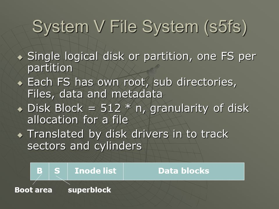 System V File System (s5fs)  Single logical disk or partition, one FS per partition  Each FS has own root, sub directories, Files, data and metadata  Disk Block = 512 * n, granularity of disk allocation for a file  Translated by disk drivers in to track sectors and cylinders B SInode listData blocks Boot areasuperblock