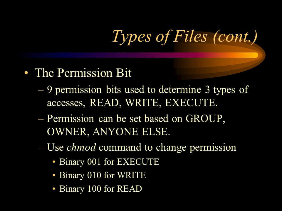 Types of Files (cont.) The Permission Bit –9 permission bits used to determine 3 types of accesses, READ, WRITE, EXECUTE.