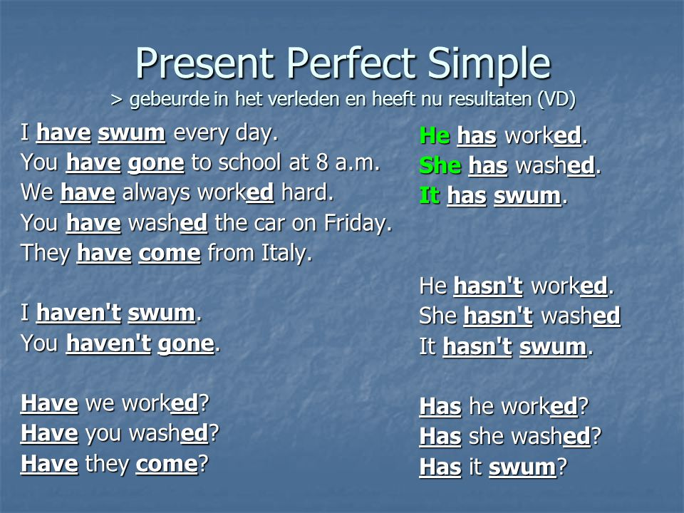 Present Perfect Simple > gebeurde in het verleden en heeft nu resultaten (VD) I have swum every day.