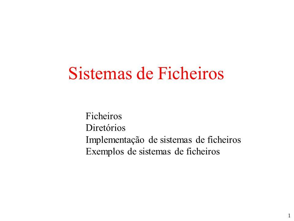 1 Sistemas de Ficheiros Ficheiros Diretórios Implementação de sistemas de ficheiros Exemplos de sistemas de ficheiros