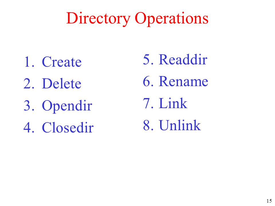 15 Directory Operations 1.Create 2.Delete 3.Opendir 4.Closedir 5.Readdir 6.Rename 7.Link 8.Unlink