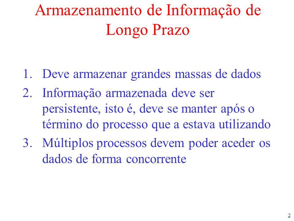 2 Armazenamento de Informação de Longo Prazo 1.Deve armazenar grandes massas de dados 2.Informação armazenada deve ser persistente, isto é, deve se ma