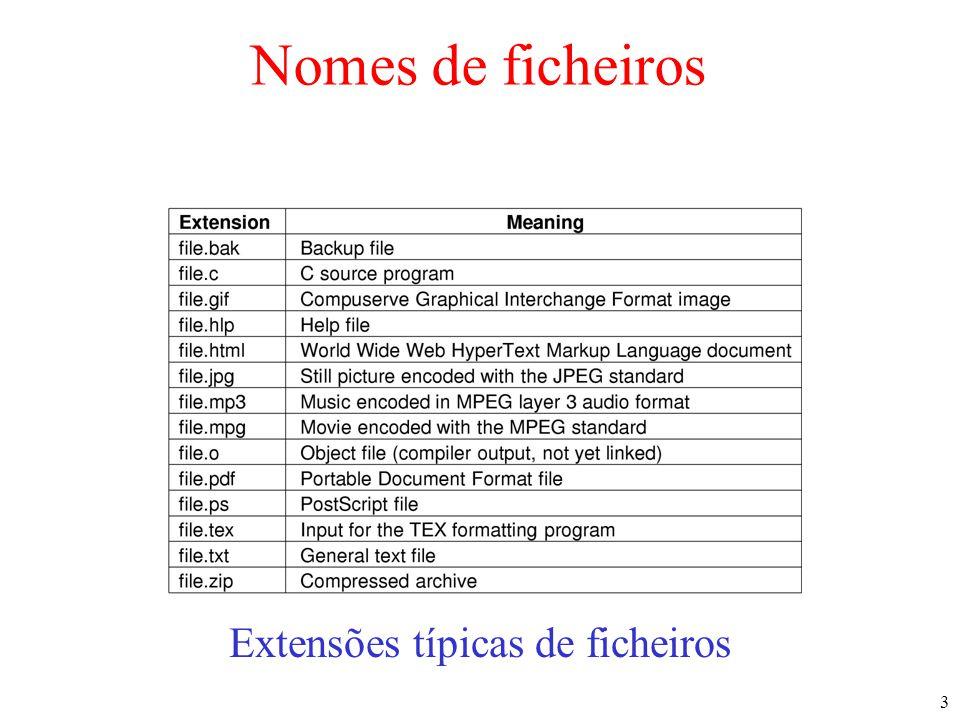 3 Nomes de ficheiros Extensões típicas de ficheiros
