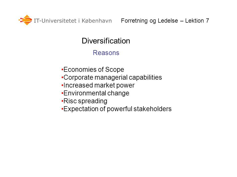 Related Diversification Unrelated Diversification Vertical Integration Backward Integration Forward Integration Horizontal Integration Conglomerate – Dominant Management Logic Underdeveloped Markets Forretning og Ledelse – Lektion 7 Growth