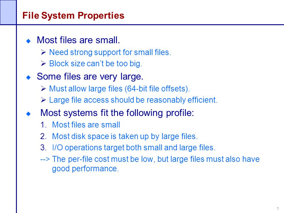 28 Directory Traversal (Cont'd.) How many disk accesses are needed to access file /A/B/C.