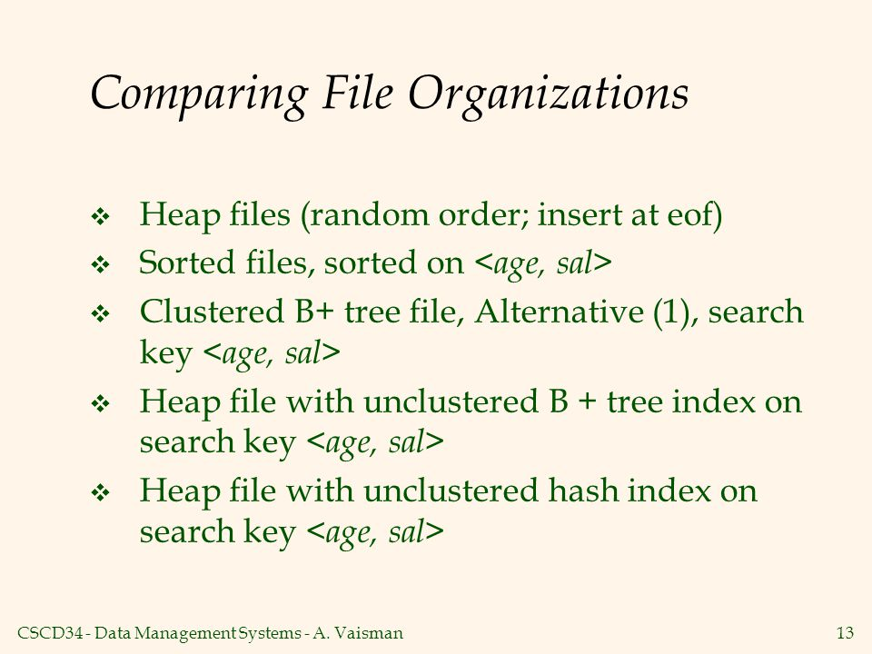 CSCD34 - Data Management Systems - A. Vaisman13 Comparing File Organizations  Heap files (random order; insert at eof)  Sorted files, sorted on  Cl