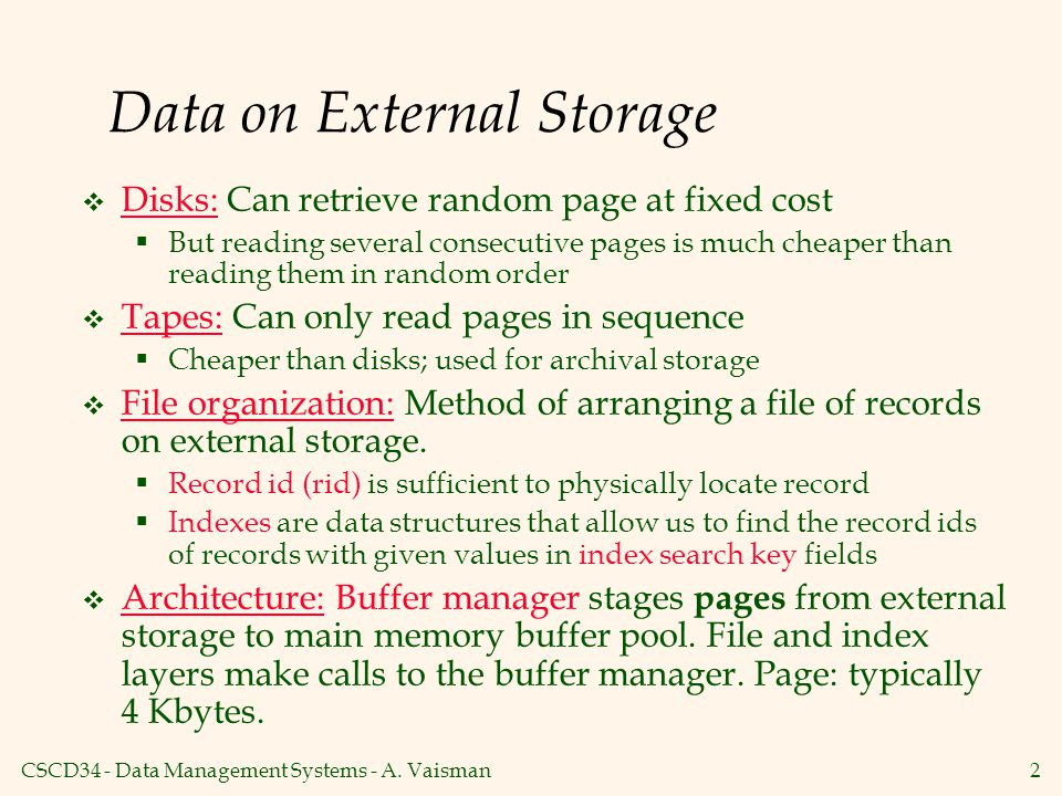 CSCD34 - Data Management Systems - A.
