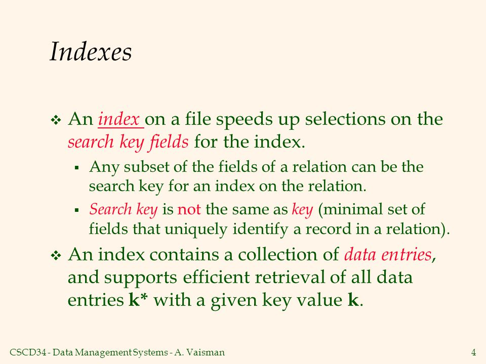 CSCD34 - Data Management Systems - A.Vaisman5 Index Classification  Primary vs.
