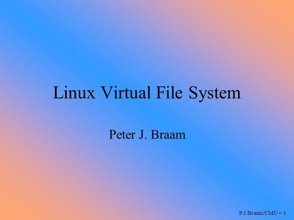 P.J.Braam/CMU -- 32 Memory mapping vm_area structure has –vm_operations –inode, addresses etc.