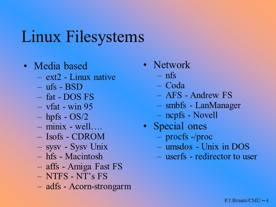 P.J.Braam/CMU -- 5 Linux Filesystems (ctd) Forthcoming: –devfs - device file system –DFS - DCE distributed FS Varia: –cfs - crypt filesystem –cfs - cache filesystem –ftpfs - ftp filesystem –mailfs - mail filesystem –pgfs - Postgres versioning file system Linux serves (unrelated to the VFS!) –NFS - user & kernel –Coda –AppleShare - netatalk/CAP –SMB - samba –NCP - Novell