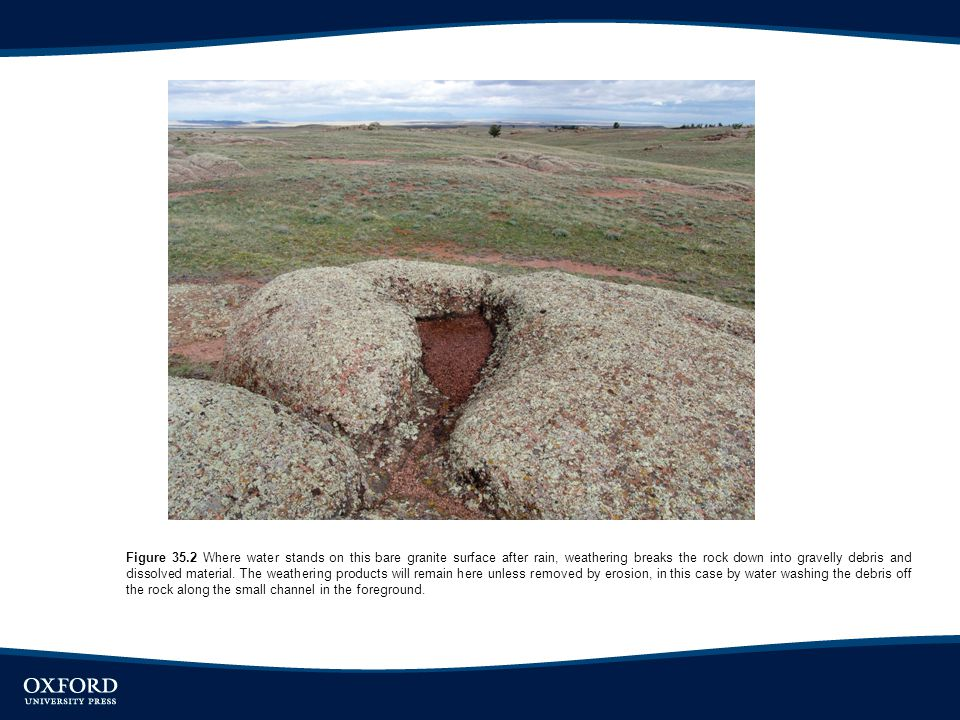 Figure 35.2 Where water stands on this bare granite surface after rain, weathering breaks the rock down into gravelly debris and dissolved material. T