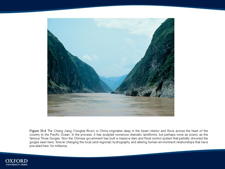 Figure 35.4 The Chang Jiang (Yangtze River) in China originates deep in the Asian interior and flows across the heart of the country to the Pacific Oc