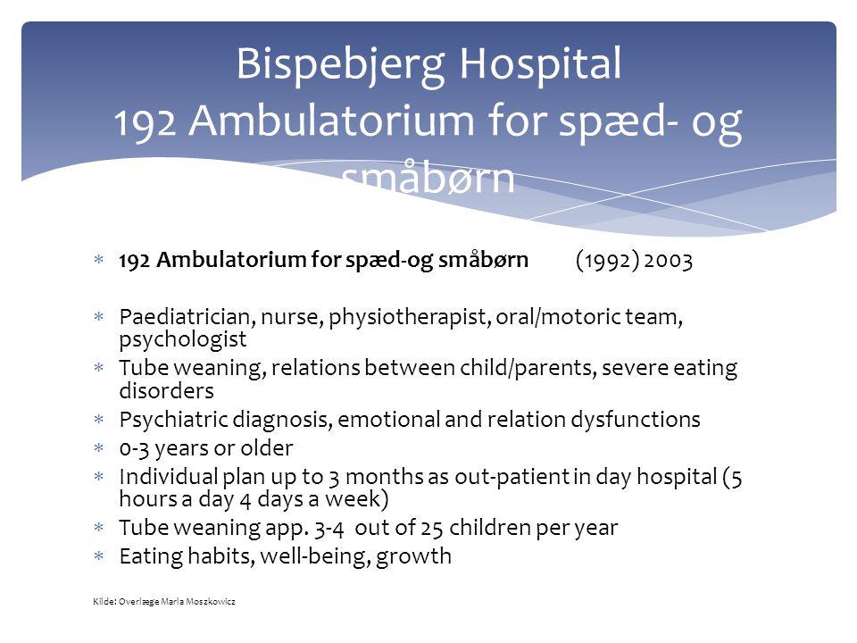  192 Ambulatorium for spæd-og småbørn (1992) 2003  Paediatrician, nurse, physiotherapist, oral/motoric team, psychologist  Tube weaning, relations