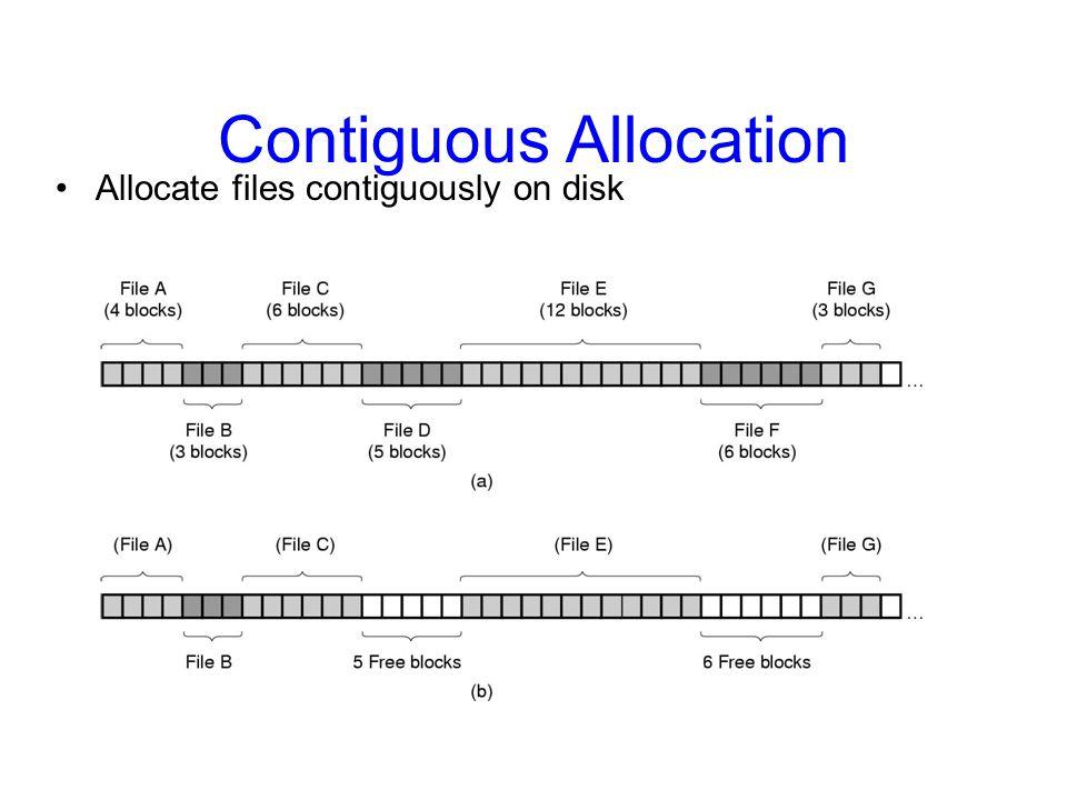Contiguous Allocation Allocate files contiguously on disk