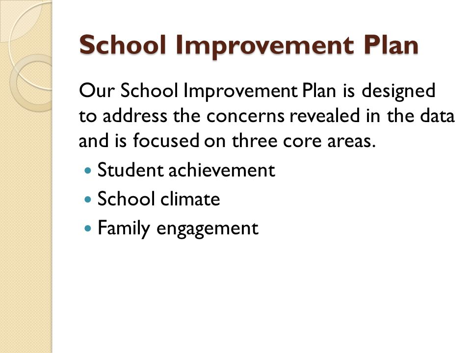 School Improvement Plan Our School Improvement Plan is designed to address the concerns revealed in the data and is focused on three core areas.