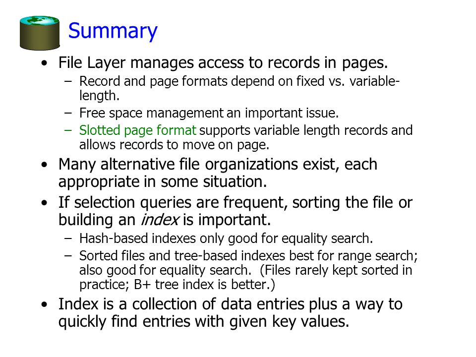 Summary File Layer manages access to records in pages.