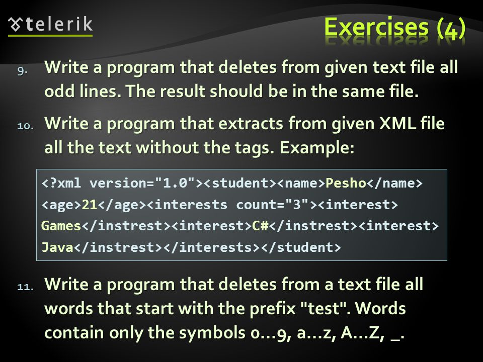 9. Write a program that deletes from given text file all odd lines.