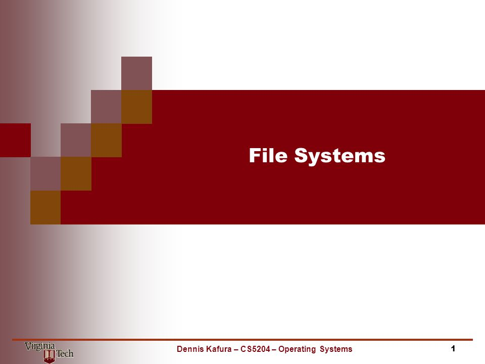 File Systems 1Dennis Kafura – CS5204 – Operating Systems