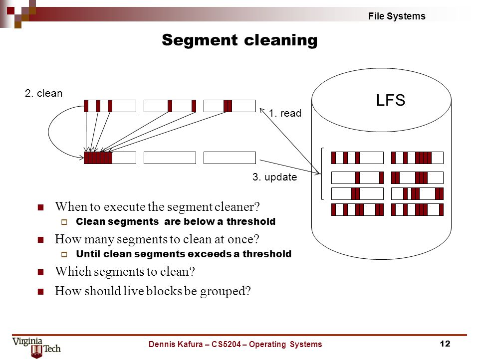 File Systems Segment cleaning Dennis Kafura – CS5204 – Operating Systems12 LFS 1.